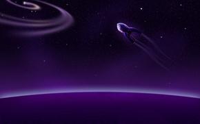 Picture stars, planet, космическиq coral, purple
