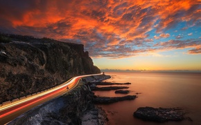 Wallpaper road, the sky, light, sunset, lights, rocks