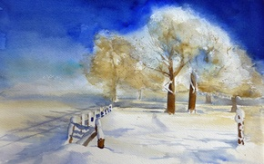 Picture winter, landscape, watercolor