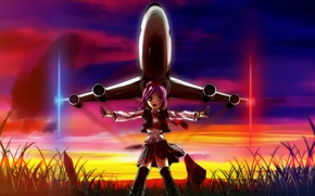 Picture the sky, girl, the sun, sunset, nature, lights, anime, art, the plane