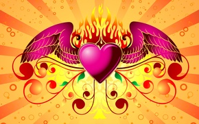 Wallpaper wings, background, heart, Valentine's day, love, valentines day, heart, fire