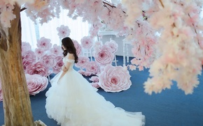 Picture girl, flowers, dress