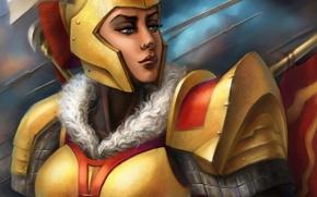 Picture girl, art, helmet, armor, DotA 2, the Legion Commander, Tresdin