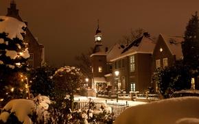 Wallpaper light, snow, Church, winter, Christmas, the city, street, Netherlands, the evening, building