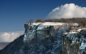 Picture winter, the sky, clouds, snow, trees, mountains, Crimea