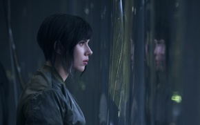 Wallpaper Scarlett Johansson, cinema, wallpaper, green eyes, woman, anime, short hair, movie, Ghost in the Shell, ...