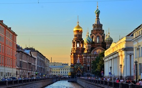 Picture river, channel, Russia, promenade, Peter, Saint Petersburg, St. Petersburg, The Cathedral Of The Savior On …