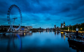 Picture night, bridge, lights, river, London, home, boats, UK, Ferris wheel, boats, Westminster