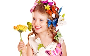 Picture flower, butterfly, flowers, sunflower, Girl, blonde, girl, curls, beautiful, the beauty, hairstyle, blue eyes, baby, …