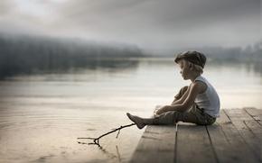 Wallpaper boy, bridge, lake