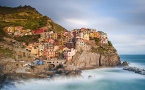 Picture shore, coast, the city, boats, The province of la Spezia, building, rocks, Italy, Italy, nature, ...