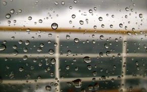 Picture sea, glass, drops, rain, yacht