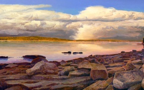 Picture clouds, landscape, lake, stones, picture
