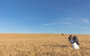 Picture wheat, field, the sky, clouds, woman, shadow, bouquet, pair, male, solar, farm, wheat field