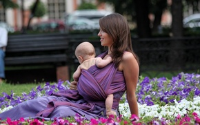 Picture flowers, child, mother