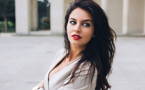 Picture look, girl, face, sweetheart, clothing, Shine, watch, portrait, makeup, lipstick, brunette, costume, the beauty, blue-eyed, …