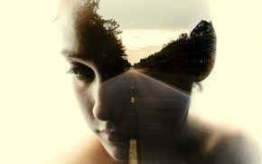 Picture road, girl, abstraction