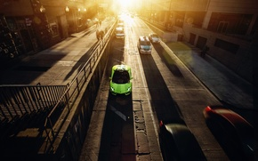 Picture Roadster, Lamborghini, City, Chicago, Green, Sunset, Downtown, LP700-4, Aventador, Supercar