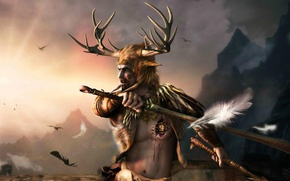 Picture weapons, feathers, heart, helmet, briar heart, outcast, the elder scrolls, skyrim, male, armor, horns