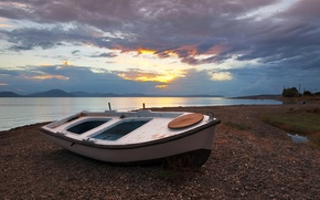 Picture beach, clouds, sunset, clouds, lake, boat