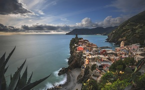 Picture Italy, mountains, coast, Cinque Terre, sea, Vernazza, Ligurian Sea, building, Cinque Terre, Liguria, Liguria, Vernazza, ...