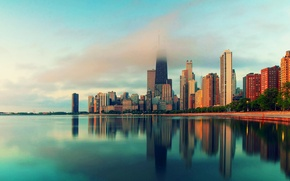 Picture water, the city, fog, skyscrapers, Chicago, Illinois