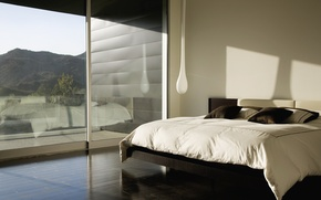 Picture mountains, design, reflection, room, bed, interior, shadow, pillow, window, stupid lamp, beautiful view outside the …