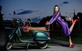 Picture girl, smile, model, the evening, beauty, scooter, heels, Miranda Kerr