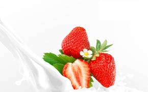 Picture berries, milk, strawberry