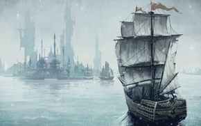 Picture The city, Ships, Sails, Art, JeeHyung lee