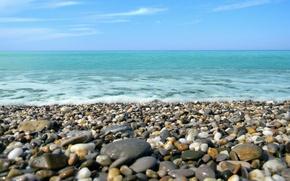 Picture sea, foam, pebbles, stones, shore, calm