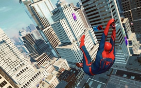 Picture car, city, wallpaper, spider man, building, the amazing