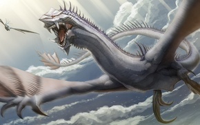 Picture clouds, flight, dragon, wings, art, mouth, dragon, in the sky