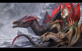 Picture art, dragon, Game of Thrones, Daenerys Targaryen, TV series, HBO, the mother of dragons, television …