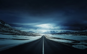 Wallpaper road, snow, mountains, nature, Iceland's Ring Road