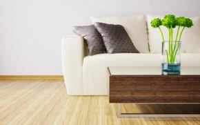 Picture white, design, style, table, sofa, interior, pillow, flooring, vase