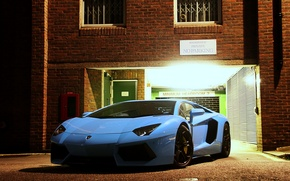 Picture light, blue, the building, Windows, the evening, lamborghini, blue, the front, aventador, lp700-4, Lamborghini, aventador