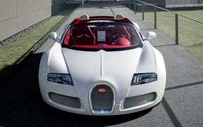 Picture lights, white, Bugatti Veyron, the front, roadster, hypercar, Grand Sport, Wei Long