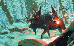 Picture winter, forest, snow, trees, staff, moose, shaman