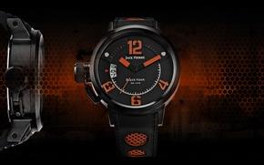 Picture black, orange, watch, Jack Pierre