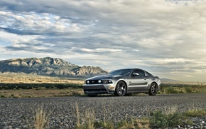 Picture the sky, mountains, Mustang, Ford, Mustang, silver, muscle car, 5.0, front, Muscle car, silvery