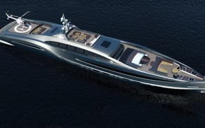 Picture Helicopter, Yacht, Sea, High, Futuristic, Technology
