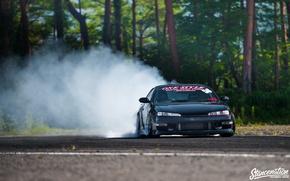 Picture nissan, turbo, drift, black, japan, smoke, jdm, tuning, silvia, front, burnout, face, low, 200sx, s14, …
