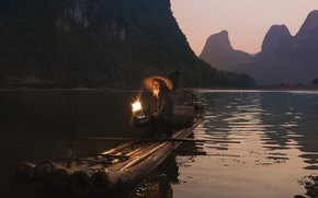 Picture light, mountains, reflection, river, lamp, fisherman, hat, the raft