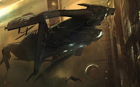 Picture Stars, Planet, Space, Art, Sci-Fi, Docking, Star ship