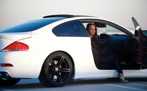 Picture white, girl, bmw, BMW, girl, white, leg, side view, e63, door