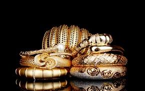 Picture macro, reflection, gold, ring, diamonds, bracelet, black background