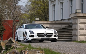 Picture red, coupe, white, Mercedes, salon, AMG, SLS, estate, the gullwings, SGA Aerodynamics