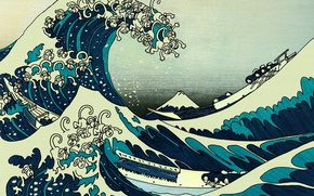 Wallpaper wave, boat, figure, monkey