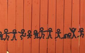 Picture the fence, figure, dance, dancing men, men